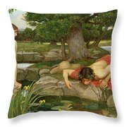 Echo and Narcissus Throw Pillow by John William Waterhouse