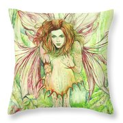 Edana The Fairy Collection Throw Pillow by Morgan Fitzsimons