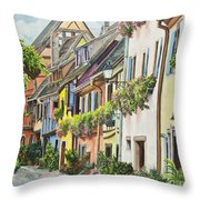 Eguisheim In Bloom Throw Pillow by Charlotte Blanchard