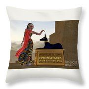Egyptian Woman And Anubis Statue Throw Pillow by Corey Ford