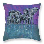 Elephant Family Throw Pillow by John Keaton