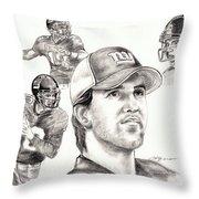 Eli Manning Throw Pillow by Kathleen Kelly Thompson