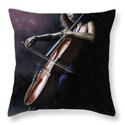 Emotional Cellist Throw Pillow by Richard Young