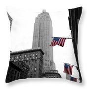 Empire State Building In The Mist Throw Pillow by John Farnan