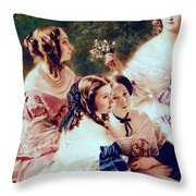 Empress Eugenie And Her Ladies In Waiting Throw Pillow by Franz Xaver Winterhalter