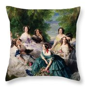 Empress Eugenie Surrounded By Her Ladies In Waiting Throw Pillow by Franz Xaver Winterhalter
