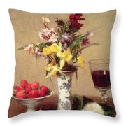 Engagement Bouquet Throw Pillow by Ignace Henri Jean Fantin-Latour