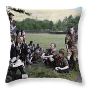 English Boy Scouts On A Hike Stop Throw Pillow by Clifton R. Adams