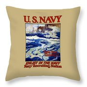 Enlist In The Navy Throw Pillow by War Is Hell Store