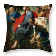 Entry Of Christ Into Jerusalem Throw Pillow by Sir Anthony van Dyke