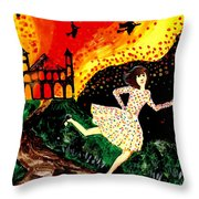 Escape From The Burning House Throw Pillow by Sushila Burgess