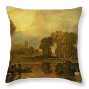 Eton College From The River Throw Pillow by Joseph Mallord William Turner