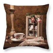 Evening Tea Still Life Throw Pillow by Tom Mc Nemar
