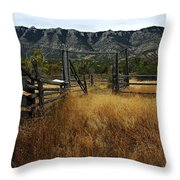 Ewing-snell Ranch 1 Throw Pillow by Larry Ricker