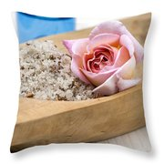 Exfoliating Body Scrub From Sea Salt And Rose Petals Throw Pillow by Frank Tschakert