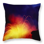 Exploding Lava And Person Throw Pillow by Greg Vaughn - Printscapes