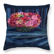 Fabric And Flowers Throw Pillow by Sharon E Allen