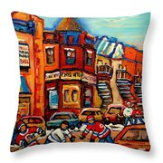 Fairmount Bagel With Hockey Throw Pillow by Carole Spandau