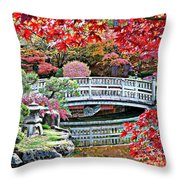 Fall Bridge in Manito Park Throw Pillow by Carol Groenen