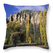 Fall Colors And Red Rocks Near Cave Throw Pillow by Rich Reid
