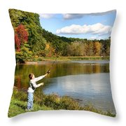 Fall Fishing Throw Pillow by Kristin Elmquist