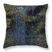 Falls Woodcut Throw Pillow by David Lane