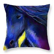 Fantasy Friesian Horse Painting Print Throw Pillow by Svetlana Novikova