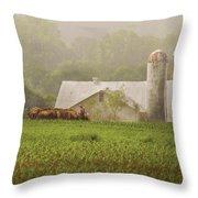Farm - Farmer - Amish Farming Throw Pillow by Mike Savad