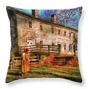 Farm - Farmer - There Was An Old Lady Throw Pillow by Mike Savad
