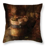 Farm - Pail - An old pail Throw Pillow by Mike Savad