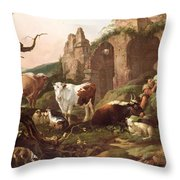 Farm Animals In A Landscape Throw Pillow by Johann Heinrich Roos