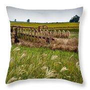 Farm Work Wiind And Rain Throw Pillow by Douglas Barnett