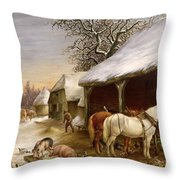 Farmyard in Winter  Throw Pillow by Henry Woollett