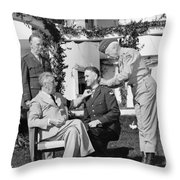 FDR Presenting Medal Of Honor To William Wilbur Throw Pillow by War Is Hell Store