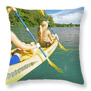 Female Kayakers Throw Pillow by Kicka Witte - Printscapes