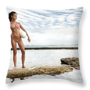 Female With Volleyball Throw Pillow by Brandon Tabiolo - Printscapes