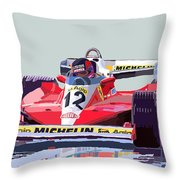 Ferrari 312 T3 1978 Canadian Gp Throw Pillow by Yuriy  Shevchuk
