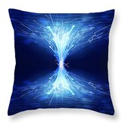fiber optics and circuit board Throw Pillow by Setsiri Silapasuwanchai