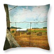 Field Of Freshly Cut Bales Of Hay Throw Pillow by Sandra Cunningham