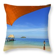 Fiji, Malolo Island Throw Pillow by Himani - Printscapes