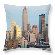 Fire Boat and Manhattan Skyline III  Throw Pillow by Clarence Holmes
