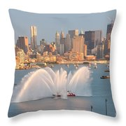 Fire Boat And Manhattan Skyline Iv Throw Pillow by Clarence Holmes