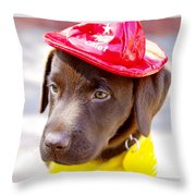 Firefighter Pup Throw Pillow by Toni Hopper