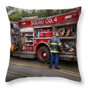 Firemen - The Modern Fire Truck Throw Pillow by Mike Savad