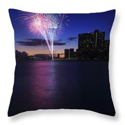 Fireworks Over Waikiki Throw Pillow by Brandon Tabiolo - Printscapes