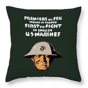 First To Fight - Us Marines Throw Pillow by War Is Hell Store