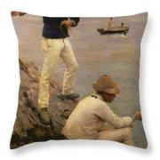 Fisher Boys Falmouth Throw Pillow by Henry Scott Tuke