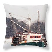 Fishing Boat Emma Rose In Winter Cape Cod Throw Pillow by Matt Suess