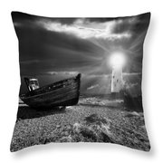 fishing boat graveyard 7 Throw Pillow by Meirion Matthias