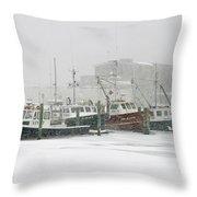 Fishing boats during winter storm Sandwich Cape Cod Throw Pillow by Matt Suess